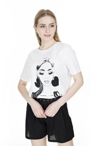 Fashion Friends - Fashion Friends Baskılı Bayan T Shirt 20Y0785 BEYAZ