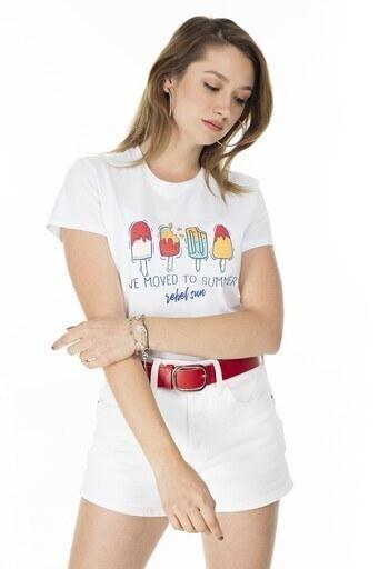 Fashion Friends Baskılı Bisiklet Yaka Bayan T Shirt 20Y0032 BEYAZ