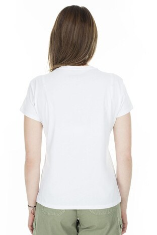 Fashion Friends Baskılı Bisiklet Yaka Bayan T Shirt 20Y0887 BEYAZ