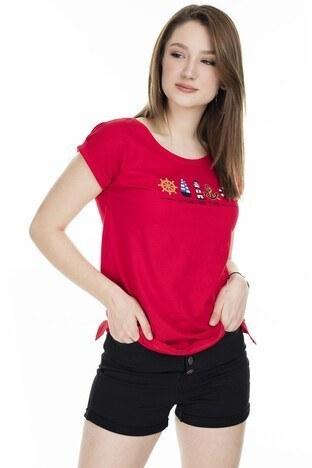 Fashion Friends Baskılı Bisiklet Yaka Bayan T Shirt 20Y0926 KIRMIZI