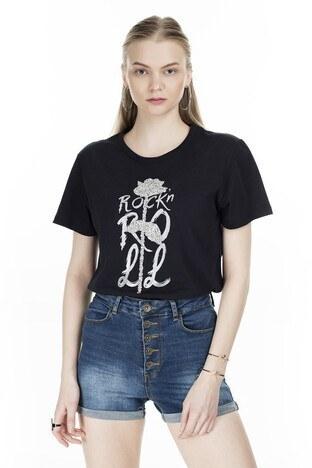 Fashion Friends - Fashion Friends Baskılı Bisiklet Yaka Bayan T Shirt 8K0102 SİYAH