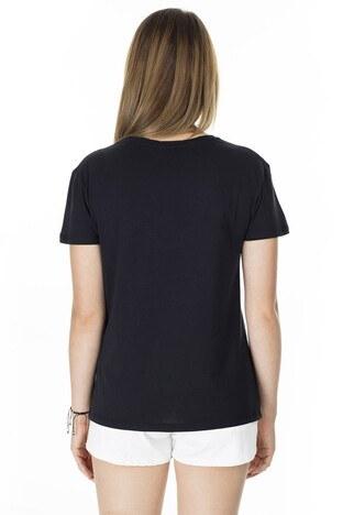 Fashion Friends Baskılı Bisiklet Yaka Bayan T Shirt 8K0110 SİYAH