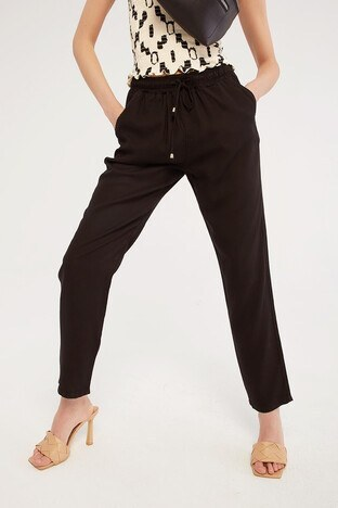 Fashion Friends - Fashion Friends Belden Bağlamalı Cepli Bayan Pantolon 21Y0171B1 SİYAH