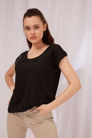 Fashion Friends Simli Bisiklet Yaka Bayan T Shirt 21Y0202B1 SİYAH
