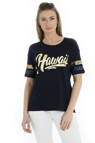 Fashion Friends - Fashion Friends Bayan T Shirt 9Y0174 LACİVERT