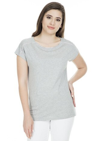 Fashion Friends - Fashion Friends Bayan T Shirt 9Y1394 GRİ SİMLİ