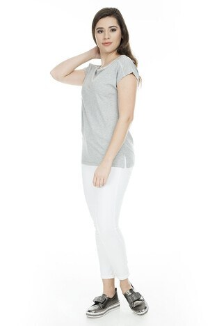 Fashion Friends Bayan T Shirt 9Y1394 GRİ SİMLİ