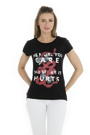 Fashion Friends - Fashion Friends Bayan T Shirt 9Y1545 SİYAH