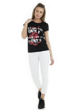 Fashion Friends Bayan T Shirt 9Y1545 SİYAH