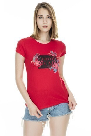 Fashion Friends - Fashion Friends Bayan T Shirt 9Y1546 KIRMIZI