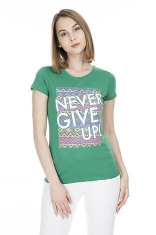Fashion Friends - Fashion Friends Bayan T Shirt 9Y1547 YEŞİL