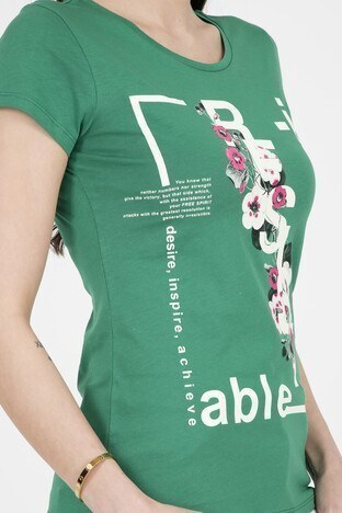 Fashion Friends Bayan T Shirt 9Y1551 YEŞİL