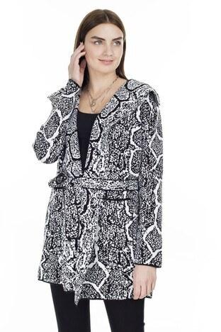 Fashion Friends - Fashion Friends Beli Kuşaklı Desenli Bayan Hırka K0312 SİYAH