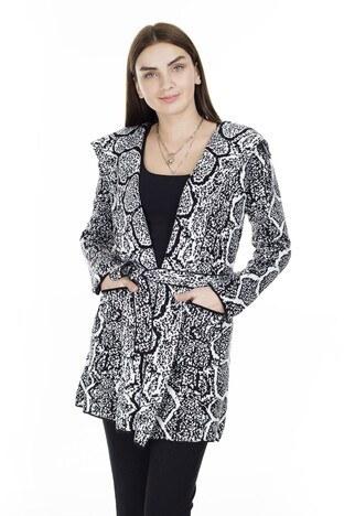 Fashion Friends Beli Kuşaklı Desenli Bayan Hırka K0312 SİYAH