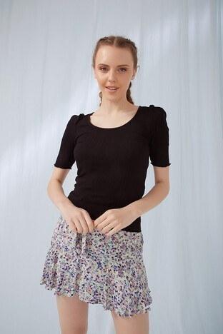 Fashion Friends - Fashion Friends Bayan T Shirt 21Y0060B1 SİYAH