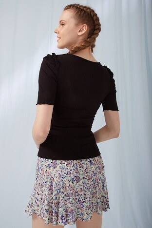 Fashion Friends Bayan T Shirt 21Y0060B1 SİYAH