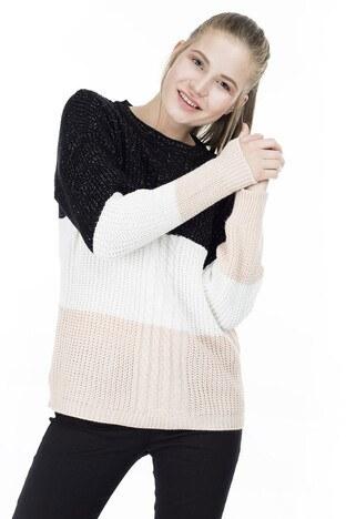 Fashion Friends - Fashion Friends Bloklu Bayan Kazak K0689 SİYAH