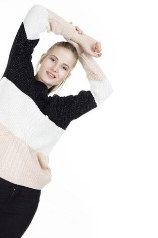 Fashion Friends Bloklu Bayan Kazak K0689 SİYAH