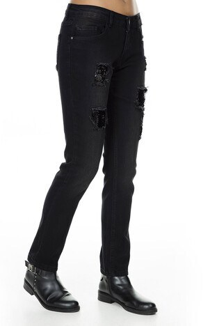 Fashion Friends Boyfriend Pul Payetli Jeans Bayan Kot Pantolon K0207 SİYAH