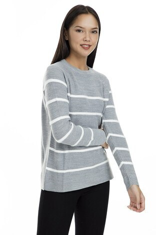 Fashion Friends Çizgili Bayan Kazak K0446 GRİ MELANJ