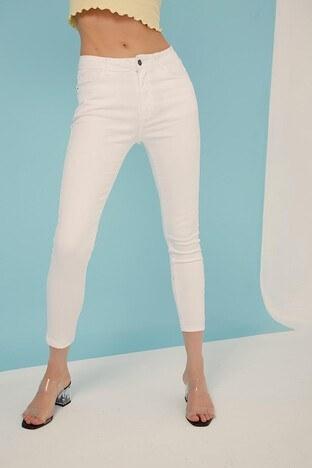 Fashion Friends Dar Kesim Pamuklu Jeans Bayan Kot Pantolon 21Y0565B1 BEYAZ