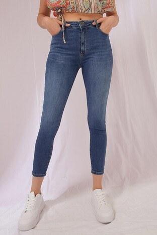 Fashion Friends - Fashion Friends Dar Kesim Pamuklu Jeans Bayan Kot Pantolon 21Y0565B1 KOYU MAVİ