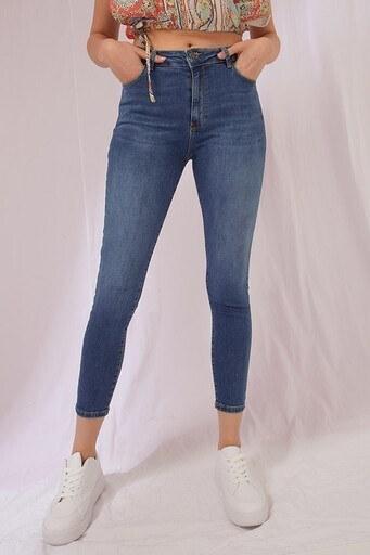 Fashion Friends Dar Kesim Pamuklu Jeans Bayan Kot Pantolon 21Y0565B1 KOYU MAVİ