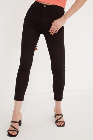 Fashion Friends - Fashion Friends Dar Kesim Pamuklu Jeans Bayan Kot Pantolon 21Y0565B1 SİYAH