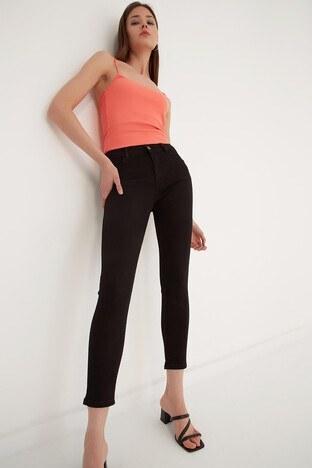 Fashion Friends Dar Kesim Pamuklu Jeans Bayan Kot Pantolon 21Y0565B1 SİYAH