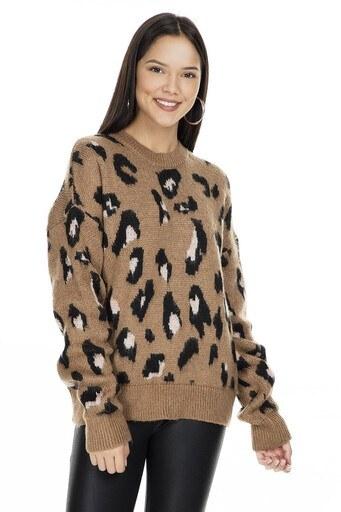 Fashion Friends Desenli Bayan Kazak K0100 VİZON