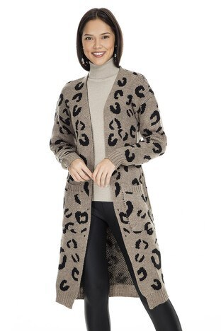 Fashion Friends - Fashion Friends Desenli Uzun Bayan Hırka K0723 VİZON