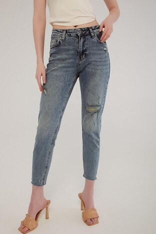 Fashion Friends Pamuklu Yüksek Bel Slim Fit Boyfriend Jeans Bayan Kot Pantolon 21Y0110B1 AÇIK MAVİ