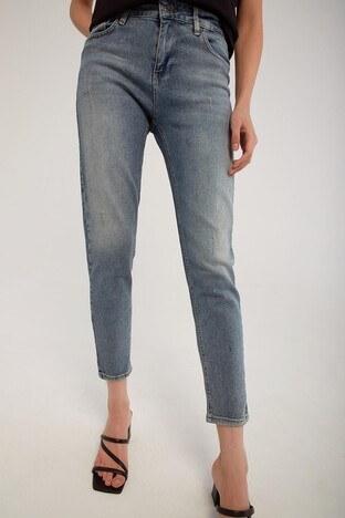 Fashion Friends - Fashion Friends Pamuklu Yüksek Bel Mom Fit Jeans Bayan Kot Pantolon 21Y0792B1 AÇIK GRİ