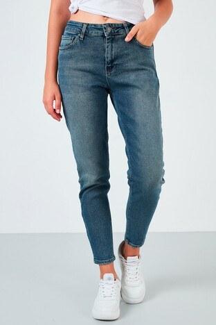 Fashion Friends - Fashion Friends Pamuklu Yüksek Bel Mom Fit Jeans Bayan Kot Pantolon 21Y0792B1 KOYU MAVİ