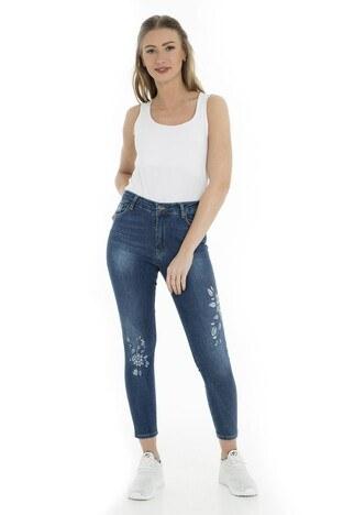 Fashion Friends - Fashion Friends Jeans Bayan Kot Pantolon 9Y1353 Koyu Mavi