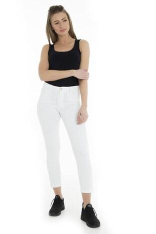 Fashion Friends - Fashion Friends Jeans Bayan Kot Pantolon 9Y1469 EKRU