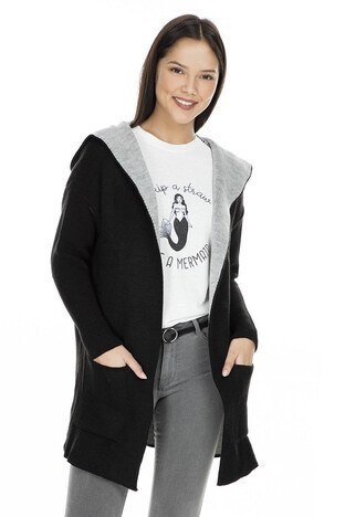 Fashion Friends Kapüşonlu Bayan Hırka K0287 SİYAH