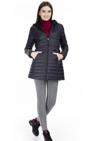 Fashion Friends Kapüşonlu Bayan Mont 9K0574 SİYAH