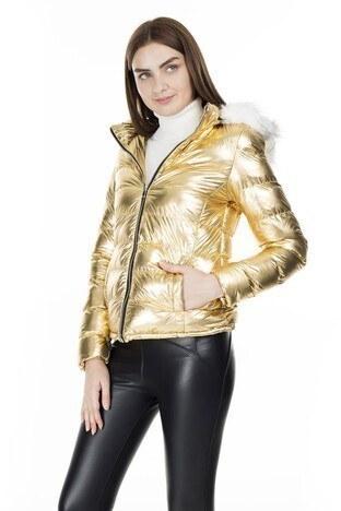 Fashion Friends - Fashion Friends Kapüşonlu Bayan Mont 9K1618 GOLD
