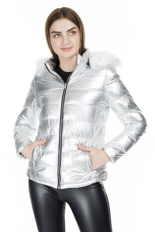 Fashion Friends - Fashion Friends Kapüşonlu Bayan Mont 9K1618 GÜMÜŞ