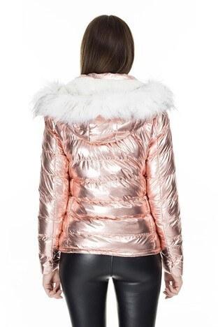 Fashion Friends Kapüşonlu Bayan Mont 9K1618 PEMBE