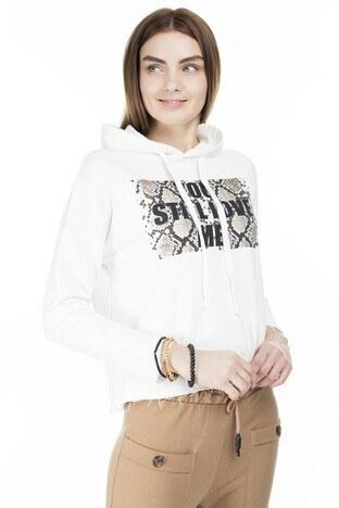 Fashion Friends - Fashion Friends Kapüşonlu Bayan Sweat 9K0151 EKRU