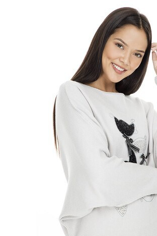 Fashion Friends Kayık Yaka Taşlı Bayan Kazak K0431 BEJ MELANJ