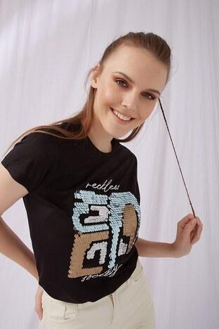 Fashion Friends - Fashion Friends Bayan T Shirt 21Y0519B1 SİYAH