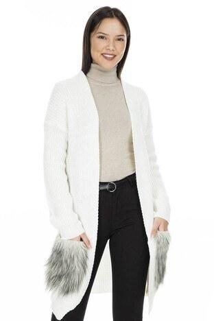 Fashion Friends - Fashion Friends Peluş Cepli Bayan Hırka K0605 BEJ