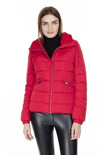 Fashion Friends Peluş Yaka Bayan Mont 9K0531 KIRMIZI