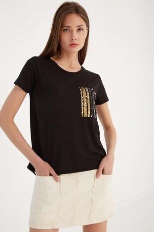 Fashion Friends - Fashion Friends Bayan T Shirt 21Y0501B1 SİYAH