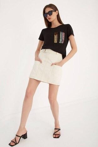 Fashion Friends Bayan T Shirt 21Y0501B1 SİYAH