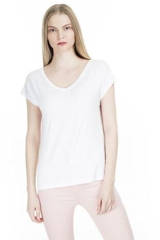 Fashion Friends - Fashion Friends Sırt Detaylı V Yaka Bayan T Shirt 20Y0120 BEYAZ