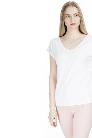 Fashion Friends Sırt Detaylı V Yaka Bayan T Shirt 20Y0120 BEYAZ